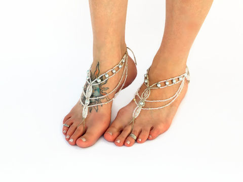 Platinum,Crystal,Bohemian,Barefoot,Sandals,-,Foot,Jewellry,barefoot-sandals, boho-foot-jewelry, sexy-foot-jewelry, beach-wedding-sandals, crystal-barefoot-jewelry, destination-wedding, beach-bride, bridal-footwear, reception-shoes, toe-thong, soleless-sandals, bottomless-sandals, bohemia, boho, bohemian-style, gy