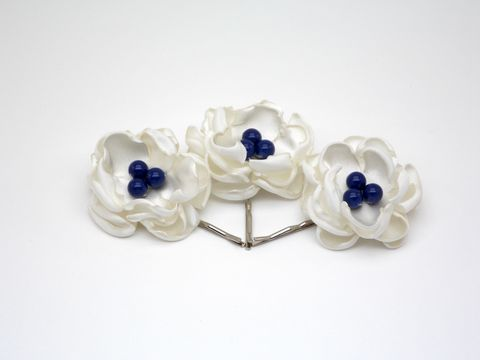 Ivory,Flower,Hair,Pins,-set,of,3,-,Color,Options,Handmade Hair Accessory - Floral Hair Pins - Boho Chic Hair Accessories - Wedding Hair Accessories - Bridal Hair Pins - Satin Flower Hair Pins, Minimalist, hair-pins-weddings, wedding-hair-accessories, petrol-ivory-floral-hair-pins