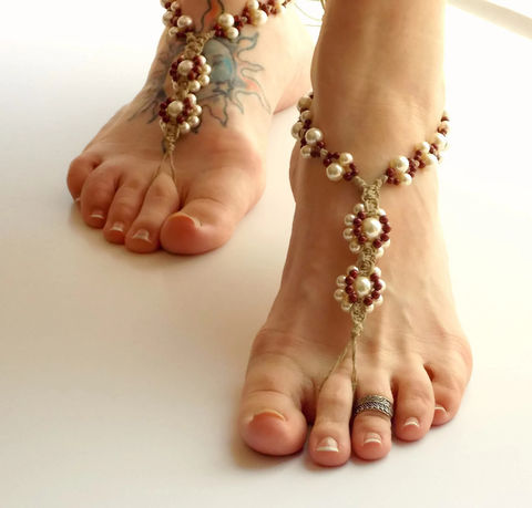 Color,Pearl,Bridal,Barefoot,Sandals,-,more,color,options-,barefoot-sandals, wedding-sandals, bride-sandals, bridal-barefoot-sandals, bridal-beach-sandals, beach-foot-jewelry, boho-foot-jewelry, foot-accessories, beach-wedding, beach-bride-shoes, pearl-barefoot-jewelry, hemp-barefoot-jewelry, handmade, usa, hemp