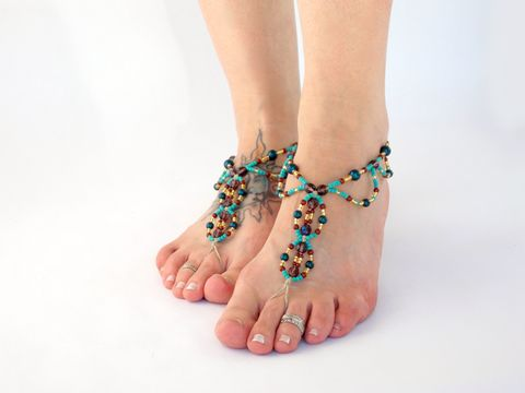 Bohemian,Beaded,Barefoot,Sandals,bohemian-jewelry, bohemian-foot-jewelry, barefoot-sandals, beach-footwear, beach-boho, gypsy-dance-shoes, gyspy-barefoot-sandals, toe-thong, bohemia, soleless-sandals, beaded-macrame, handmade, usa, colorado, hemp, hippie-sandals