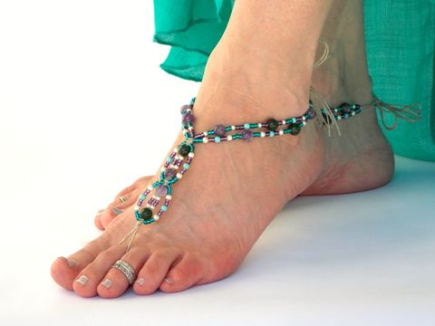 Bohemian,Beaded,Barefoot,Sandals,-,Amethyst, Bohemian Barefoot Sandals - Beach Footwear - Barefoot Jewelry - Gypsy Foot Jewelry - Hemp Barefoot Sandals