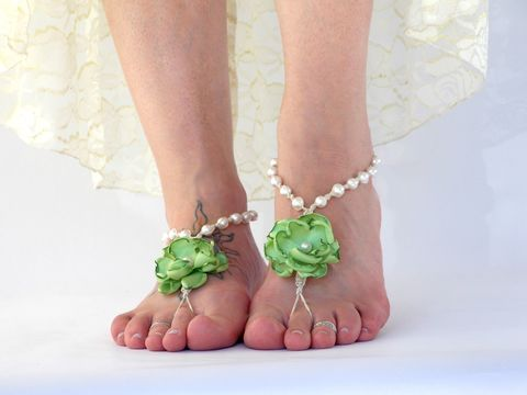 Bridal,Barefoot,Sandals,with,Satin,Flower,and,White,Pearls,-More,Color,Options-,handmade, barefoot-sandals, bridal-footwear, ankle-jewelry, anklet, foot-accessories, beaded-foot-jewelry, beach-footwear, bride-shoes, wedding-sandals