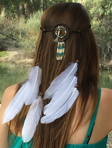 Dream,Catcher,Headband,-Gold,,Turquoise,,Chocolate,Suede,Leather,headband, dream-catcher, festival-wear, bohemian-headband, leather-headband, feather-headband, hair-accessory, handmade, hair-feathers, white-feathers, suede-leather-headband, handmade-dream-catcher, dream-catcher-how-to-style,