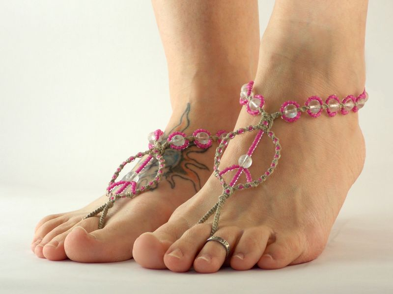 Hand Braided Hemp Peace Sign Barefoot Sandals - Glow in the Dark - product images  of