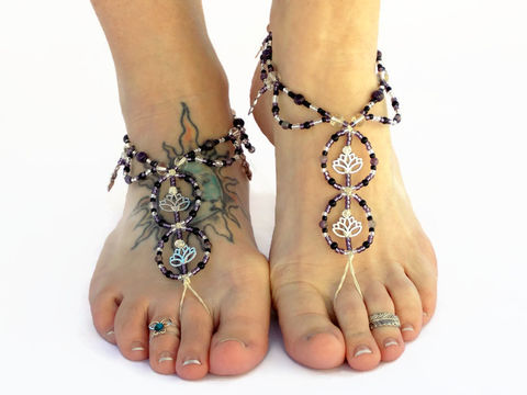 Lotus,Flower,Barefoot,Sandals,in,Amethyst,amethyst-jewelry, barefoot-sandals, yoga-shoes, meditation-jewelry, lotus-flower-jewelry, lotus, goddess-jewelry, barefoot-jewelry, yoga-jewelry, purple-barefoot-sandals, foot-accessories, foot-bling