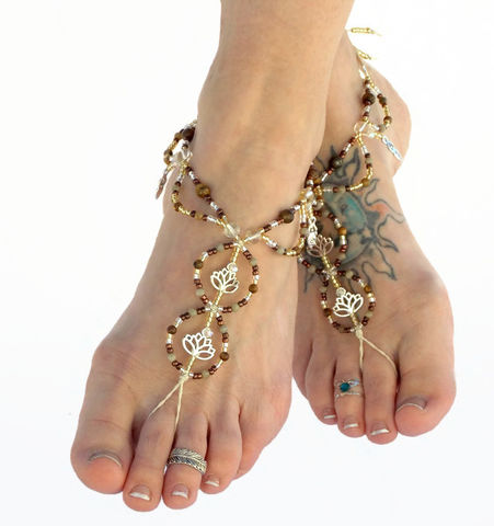 Lotus,Flower,Barefoot,Sandals,in,Jasper,barefoot-sandals, barefoot-jewelry, yoga-shoes, meditation, yoga, lotus, goddess-charm, foot-jewelry, footwear, shoes, sandals, earth-tones, earthing, jasper, foot-bling, foot-accessories, anklet
