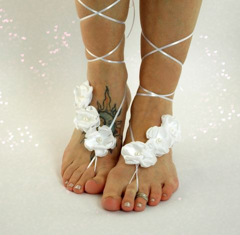 Sexy,Ribbon,Lace,up,Sandals,ribbon-lace-sandals, barefoot-sandals, floral-sandals, barefoot-jewelry, dancer-jewlery, exotic-dancer-costume, wedding-footwear, white