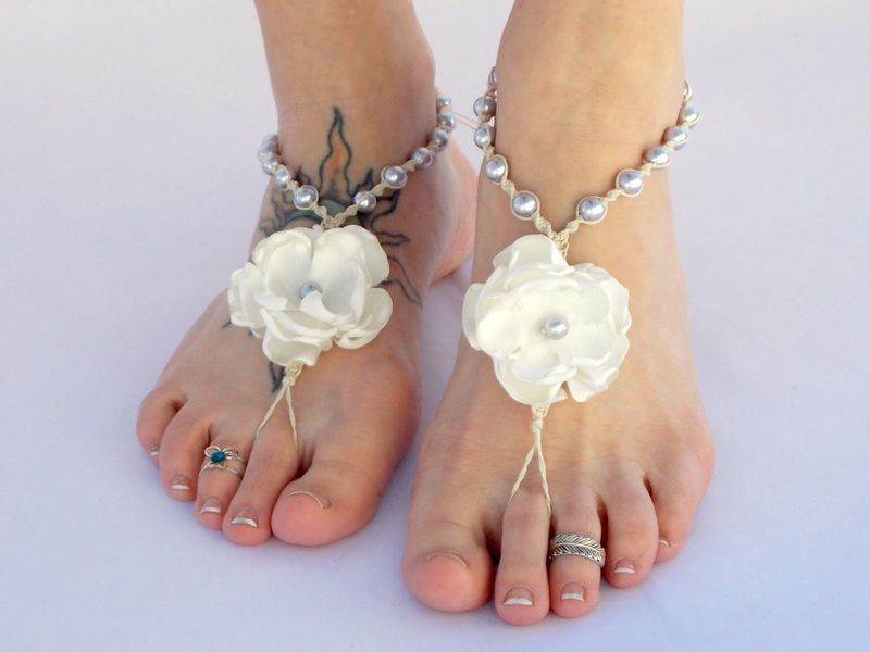 082f316d6b3 ... White Flower Pearl Barefoot Sandals - Color Options - product images of  ...