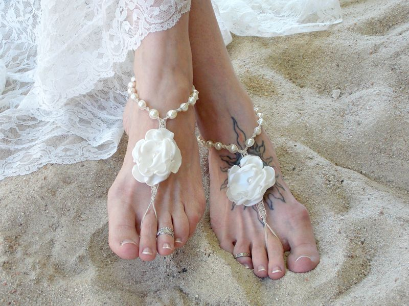 White Flower Pearl Barefoot Sandals - Color Options - product images  of
