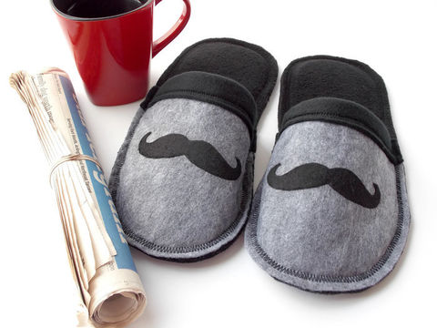 Handmade,Slippers,for,Men,-,Mr.,Mustache,felt-slippers, handmade-slippers, mustache, fathers-day-gift, gift-for-men, dad, house-shoes, handmade, felt-shoes, scuffs, slippers, black, gray, grey, slip-on-shoes