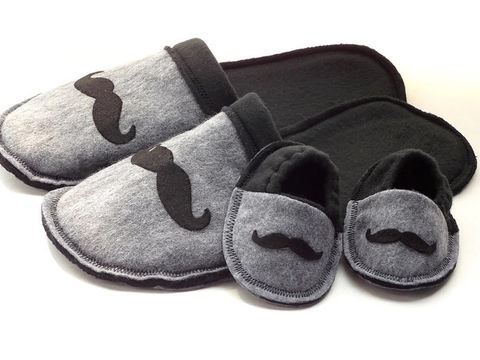 New,Daddy,Gift,Set,-,Slippers,for,Baby,and,Dad,baby-gift, new-daddy, gender-reveal, grandpa-gift, baby-shower, baby-boy, baby-booties, felt-slippers, handmade-slippers, mustache, fathers-day-gift, gift-for-men, dad, house-shoes, handmade, felt-shoes, scuffs, slippers, black, gray, grey, slip-on-shoes