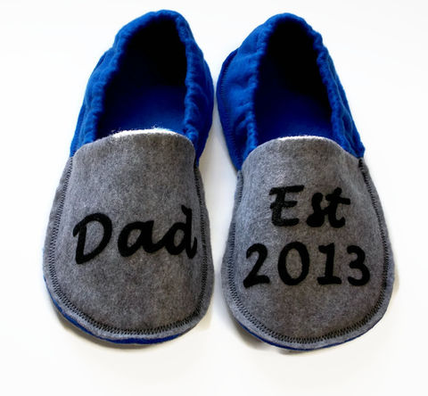 Handmade,Slippers,for,Men,-,New,Dad,Est.,2016,felt-slippers, handmade-slippers, Dad-est., fathers-day-gift, gift-for-men, dad, house-shoes, handmade, felt-shoes, scuffs, slippers, blue, gray, grey, slip-on-shoes, personalized