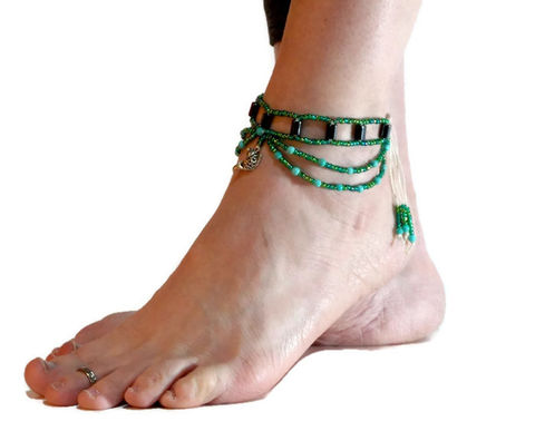 Hematite,Anklet,-,Calming,Koi,healing-jewelry, anklet, yoga, hematite, green, hemp, footwear, foot-jewelry, earthing, ankle-bracelet, ankle-wrap, chain-anklet, slave-anklet, koi, koi-fish