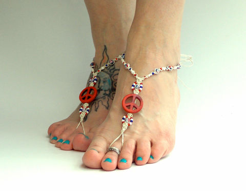 Patriotic,Peace,Barefoot,Sandals,patriotic-footwear, independence-day-jewelry, foot-jewelry, hemp, barefoot-sandals, barefoot-jewelry, soleless-sandals, beach-sandals, teen-foot-jewelry, anklet, handmade,  usa, peace, red-white-blue
