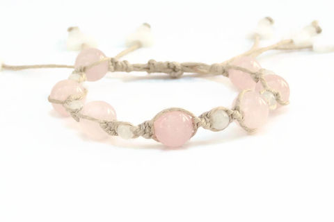 Rose,Quartz,Hemp,Bracelet,rose-quartz, bracelet, healing-jewelry, handmade, hemp, stacking-bracelet, heart, valentine, pink