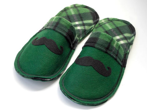 Green,Mr.,Mustache,Cozy,Slippers,for,Men,mustache-gift-men, men-shoes, men-slippers, men-scuffs, green-slippers-men, mustache-slippers, men-houseshoes, men-gift