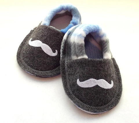 Handmade,Mustache,Baby,Booties,Blue,blue-baby-booties, baby-shoes, mustache-slippers, mustache, baby-boy, shoes, booties, slippers, crib-shoes, baby-gift, grey, black, soft-sole-baby-shoes