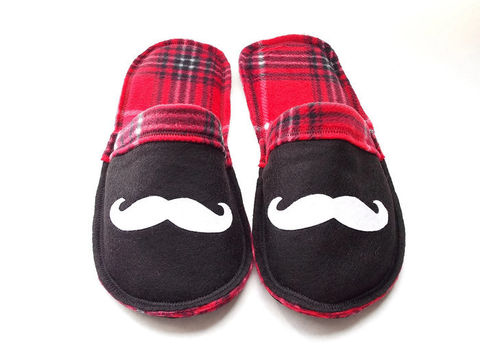 Red,Plaid,Mr.,Mustache,Cozy,Slippers,for,Men,mustache-gift-men, men-shoes, men-slippers, men-scuffs, green-slippers-men, mustache-slippers, men-houseshoes, men-gift