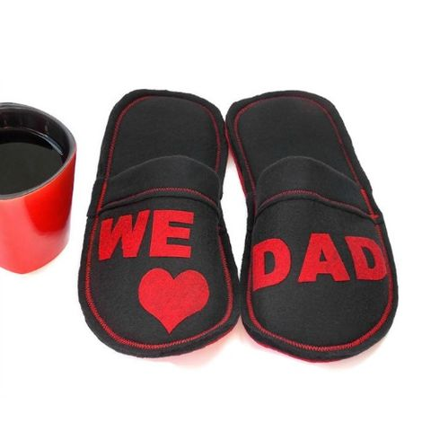 We,Love,Dad,Slippers,for,Men,,Valentine,Gift,Guys,House,Shoes,valentine-gift-dad, dad-gift, house-shoes, men-slippers, heart-slippers, guy-slippers, handmade-shoes-men, valentines-day-gift-for-him, red, black, men-shoes