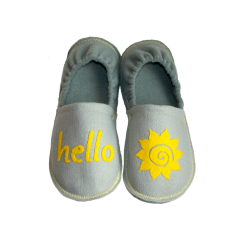 Hello,Sunshine,Slippers,for,Women,,Teens,,Ladies,Handmade,House,Shoes,handmade-shoes, hello-sunshine, slippers, gray, yellow, women-slippers, women-shoes, ladies-slippers, teen-slippers, indoor-shoes