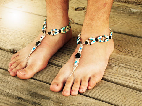 Evil,Eye,Barefoot,Sandals,in,Blue,evil-eye, blue, men-barefoot-sandals, barefoot-sandals, men-sandals, bare-sole-shoes, men-footwear, men, men-jewelry, men-foot-jewelry, barefoot-movement-wear