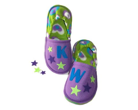 Aim,for,the,Stars,,Personalized,Slippers,Girls,handmade-slippers, inspirational-gift, slippers-gift, personalized-slippers, custom-slippers, girls-slippers, pajama-shoes, house-shoes, kids-shoes, soft-sole-shoes, purple, stars, aim-for-the-stars