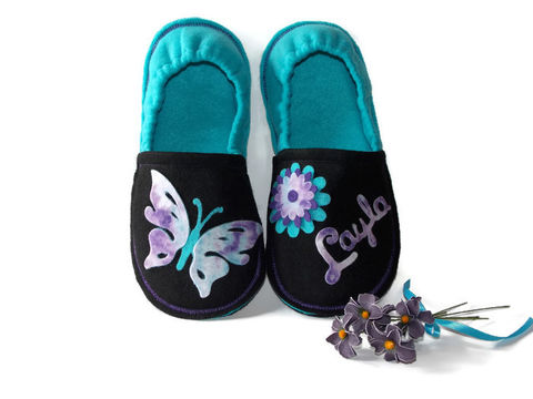 Chase,Your,Dreams,,Personalized,Slippers,for,Girls,butterfly-shoes, handmade-slippers, inspirational-gift, slippers-gift, personalized-slippers, custom-slippers, girls-slippers, pajama-shoes, house-shoes, kids-shoes, soft-sole-shoes, purple, turquoise-slippers, butterfly-slippers