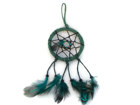 Teal,Green,Hemp,Dream,Catcher,dream-catcher, 2-inch-dream-catcher, small-dream-catcher, green-dream-catcher, feather-dream-catcher, dream-catcher-accessory