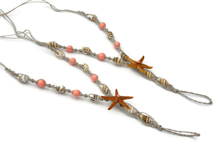 Beach Medley barefoot sandals with seashells, starfish & pearls - product images  of