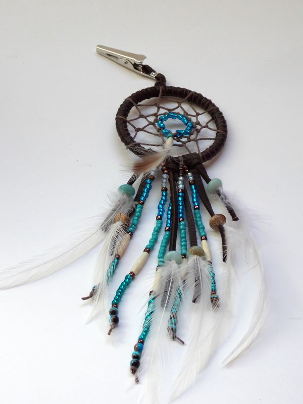 Dream Catcher Feather Hair Clip, Blue Amazonite - product images  of