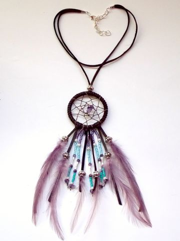 Amethyst,Dream,Catcher,choker,necklace,amethyst-dream-catcher, purple-dream-catcher, feather-choker, dream-catcher-choker, leather-choker-necklace