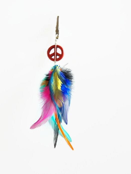 Multi-Color Feather Roach Clip Peace Sign - product images  of