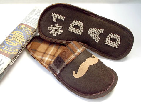 Mustache,slippers,for,men,,Number,1,Dad,Father's,day,gift,men-slippers, men-house-shoes, funny-dad-gift, mustache-gift-dad, plaid-slippers, brown-plaid-slippers, slippers-men, fathers-day-gift
