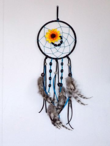 Boho,chic,dream,catcher,with,sunflower,and,black,obsidian,beads,dream-catcher, hippie-dream-catcher, sunflower-dream-catcher, peace-dream-catcher, boho-dream-catcher, bohemian-style-home-decor, boho-home, style-me-boho,