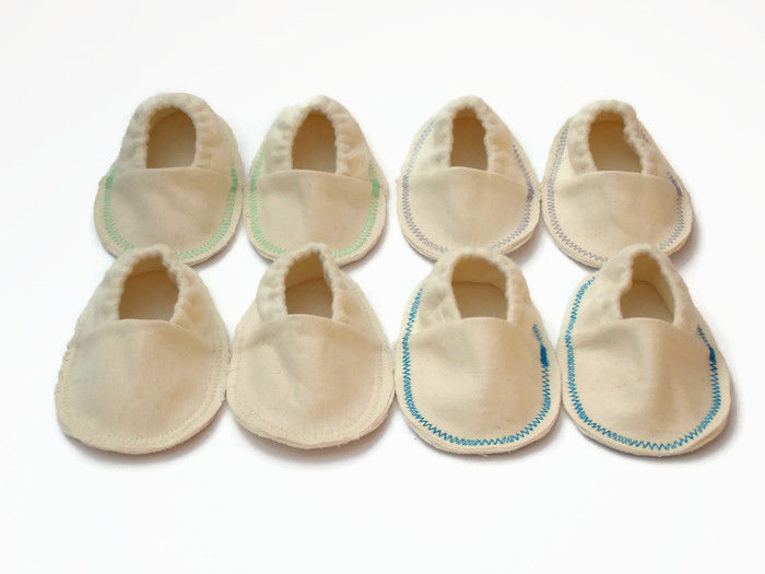 Handmade hemp infant booties, soft sole crib shoes, organic cotton blend shoes - product images  of