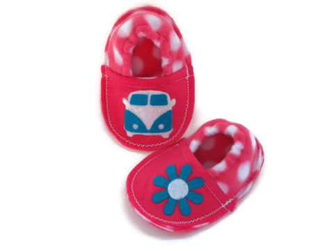 Retro,Hippie,Bus,Baby,Booties,in,Pink,retro-hippie-bus-print, baby-booties, infant-slippers, infant-booties, soft-sole-baby-shoes, baby-crib-shoes, hot-pink, turquoise, hippie-booties, flower-child-baby, retro-baby-shoes, fleece-baby-booties, cozy-slippers