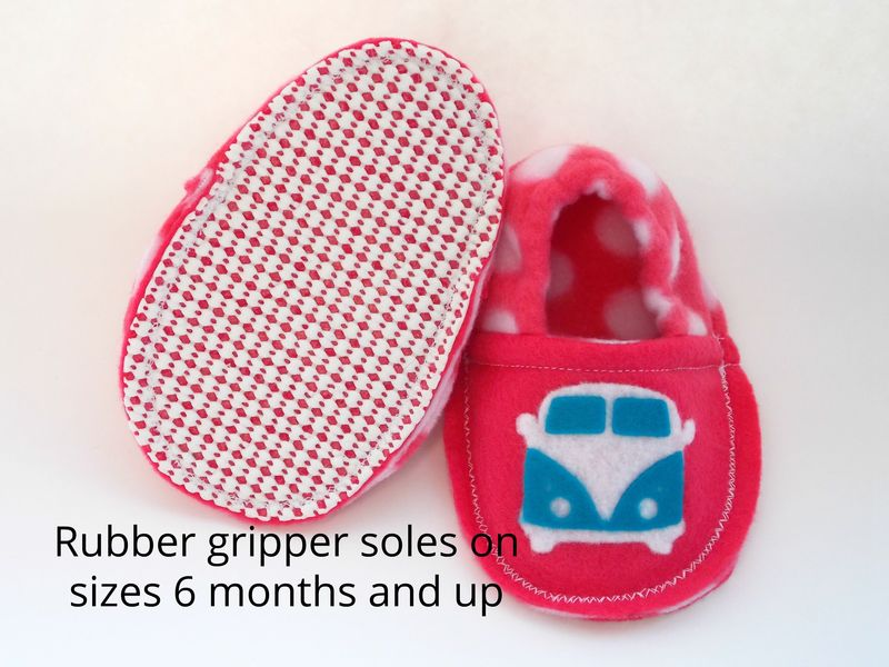 Retro Hippie Bus Baby Booties in Pink - product images  of