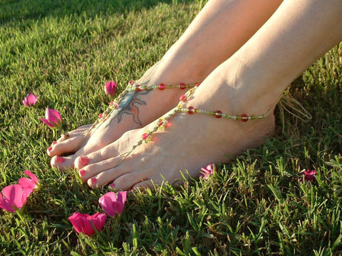 Cherry,Lime,Barefoot,Sandals,Jewelry,Anklet,Beaded,barefoot_sandals,barefoot_jewelry,barefoot_sandal,beach,free_spirit,sandal,barefoot,toe_thong,beach_jewelry,ankle_bracelet,foot_jewelry,pink,lime_green,glass_beads,hemp
