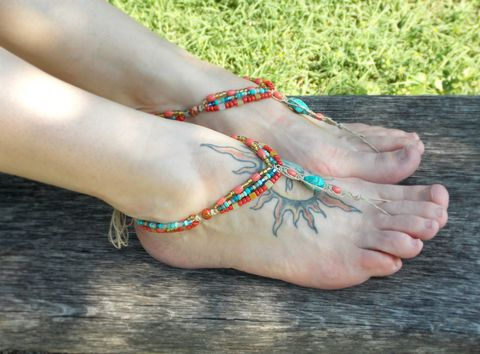 Bohemian,Beaded,Barefoot,Sandals,gypsy shoes, gypsy barefoot jewelry, Jewelry,Anklet,barefoot,sandals,barefoot_sandals,barefoot_sandal,barefoot_jewelry,hemp_barefoot_sandal,rain_dance,tribal_inspired,fringe_jewelry,foot_jewelry,turquoise,leather_fringe,bohemian,hemp,wooden_beads,t