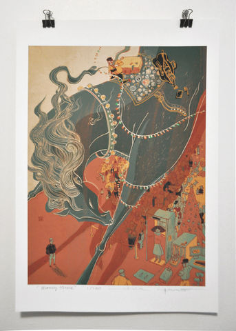 Money,Horse,Victo Ngai, limited edition giclee print, horse,holiday, travel, family, whimsical