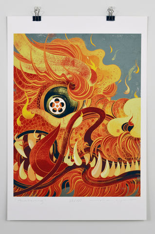 Awakening,Victo Ngai, limited edition giclee print, red, dragon, heart, China, vanity fair,art print, color, illustration, cover