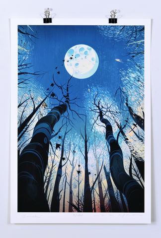 Barsk,Victo Ngai, limited edition giclee print,tree, trees, bird, birds, moon, atmosphere, dark,death, star, love,art print, color, illustration, blue