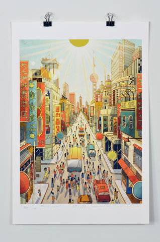 City,Prayer,Victo Ngai, limited edition giclee print, flower, women, city, Shanghai,prayer,pray, love,art,print, color, illustration, sun, sunshine, peace, people, pedestrian, poster