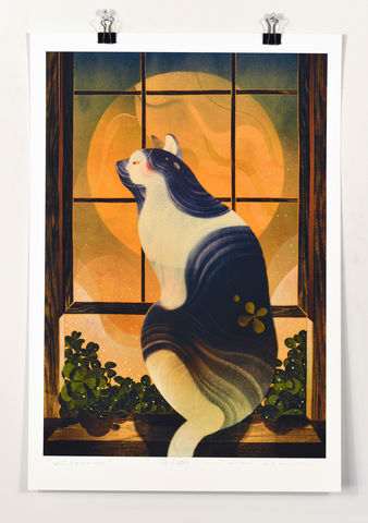 Clover,Victo Ngai, limited edition giclee print, flower, women, heart, valentine, love,art print, color, illustration, cat, overlay, window, clover, beautiful, beauty, cat watching, twilight, detail, wood, orange, atmosphere