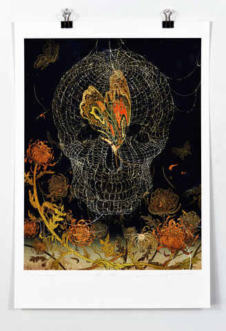 Cocoon,Victo Ngai, limited edition giclee print, flower, women,butterfly, skull,dash, dark,cocoon, reborn, chrysanthemum,love,art, print, color, illustration , poster, cool, death, rock,n,roll,nirvana
