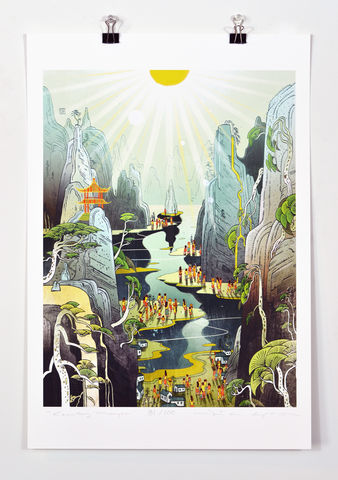 Country,Prayer,Victo Ngai, limited edition giclee print, flower, women,men, children,kids,people, city, country,mountain,river,prayer,pray, love,peace,reflection,art,print, color, illustration, sun, sunshine, peace, people, pedestrian, poster,green, temple