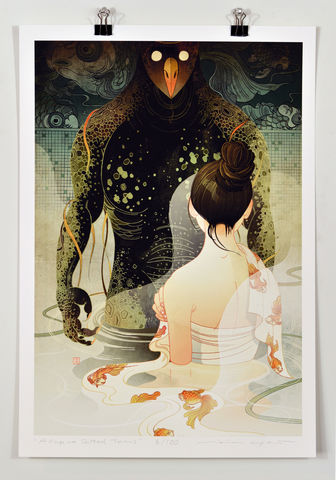 Cup,of,Salted,Tears,Victo Ngai, limited edition giclee print, flower, women, city, monster,girl,bathroom,shower bath, wet,water,fish,prayer,pray, love,art,print, color, illustration, sun, sunshine, peace, people, home,restroom, tears,salted, poster , steamy