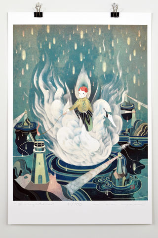 Enlightened,Victo Ngai, limited edition giclee print, flower, match,swan,white, women, city,light,rain,tower,match, ocean,dark,prayer,pray, love,art,print, color, illustration, sun, sunshine, peace, people, pokadots, poster,