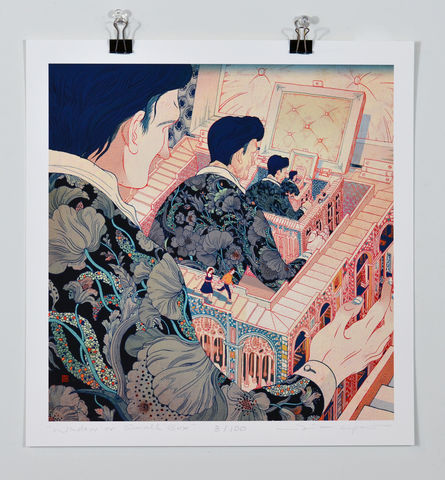 Window,or,Small,Box,Victo Ngai, limited edition giclee print,color, red, pink, blue, black,dark,twist, flower, women,prayer,pray, love,art,print, color, illustration, sun, sunshine, peace, people, nature, mountain, tree, trees,man, woman, girl, boy run,runaway,