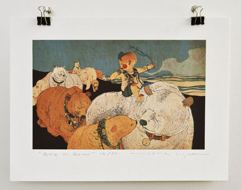 Boy,on,Bear,Victo Ngai, limited edition giclee print, children, animal, bear, whimsical, color